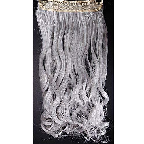 Extension clip capelli lunghi mossi fascia unica [grigio argento] 24 inch 60cm one piece sintetico ondulato con 5 clip 3/4 full head 120g