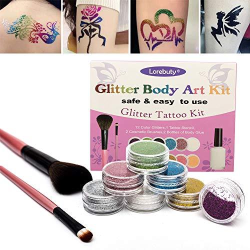 Glitter-Tattoo-Set,Tattoo-Kit,Temporäre Tattoos,Körperkunst Make Up Glitzer Körper Schminkset Glitzer für Kinder Jugendliche Erwachsene Perfektes Party Set 12 Farben der Glitzer
