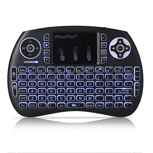 Mini Wireless Tastatur 92Tasten 2,4GHz Hintergrundbeleuchtung Funktion Tastatur Touchpad Maus Combo–5Layout für Englisch, Italienisch, deutsch, spanisch, Französisch–Multimedia-Hand für PC, Xbox 360, PS4, Android TV Box, Smart TV, usw.