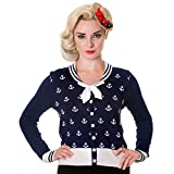 Banned Retro Sailor Cardigan Anchors Away - Damen Vintage Matrosen Strickjacke Anker (M, Blau)