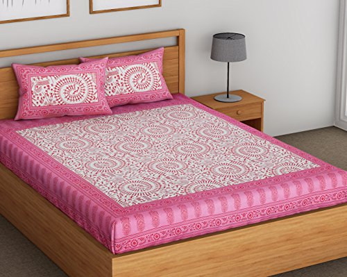 SheetKart Floral Printed 144 TC Pure Cotton Traditional Double Bedsheets with 2 Pillow Covers, Perfect Pink
