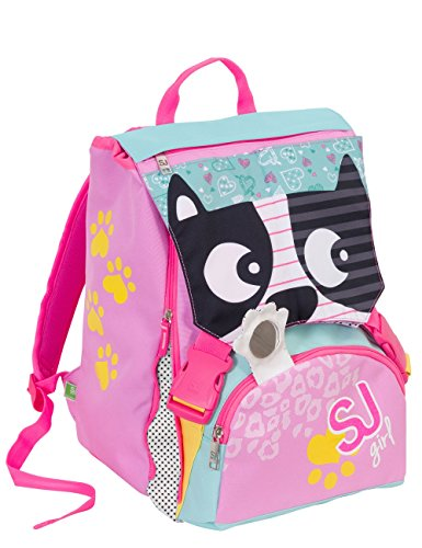 Zaino scuola sdoppiabile - GIRL - Animali da SJ - FLIP SYSTEM - 28 LT 3 pattine sfogliabili elementari e medie