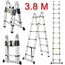 Finether-3.8M Escalera Telescópica Plegable (12.5FT, Multi-propósito Extensible, Buena Calidad, Mayor Seguridad,