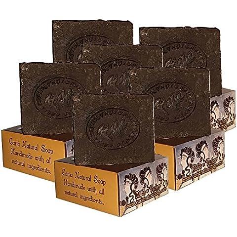 6x barra de jabón natural hecho a mano con alquitrán de pino (piel seca Psoriasis Eczema) de oliva aceite de coco aceite de ricino jabón AU mantequilla de cacao (Pine Tar Soap)
