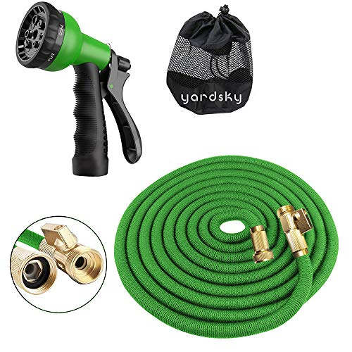 WIRABO Extensible Garden Hose 50FT / 15M, Tripe Latex Core, 8 Gun Spraying Patterns, Resistant and Antifreeze, and Hose Suspension - 2018 Updated Version