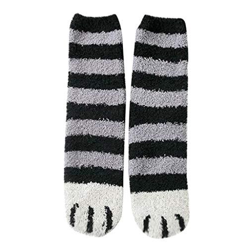 4 Pairs Fuzzy Cat Paws Socken für Frauen Schöne Cat Claw Coral Fleece Fuzzy Mittlere Strümpfe Socken Fluffy Furry Floor Slipper Socken -