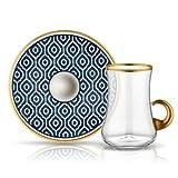 Teeglas mit Goldhenkel und Unterteller aus Bone China Porzellan mit blauer Verzierung Bienenwaben 165 ml 6er Set