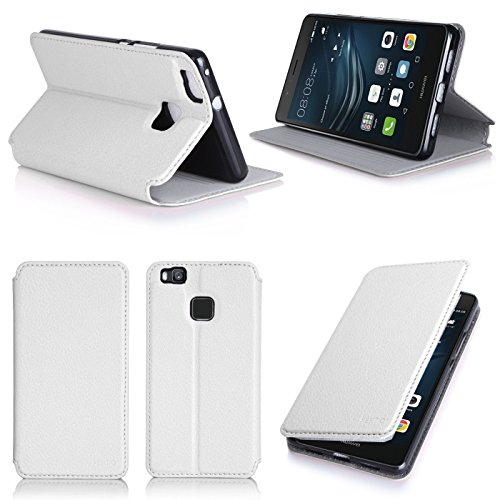 Ultra Slim Tasche Leder Style Huawei Ascend P9 Lite Dual Sim Hülle weiß Cover mit Stand - Zubehör Etui Huawei Ascend P9 LITE Dual Sim Flip Case Schutzhülle (PU Leder, weiss white) - XEPTIO accessoires