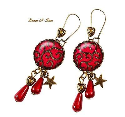 Boucles d'oreilles Karakusa rouge cadeau perle gouttes japon