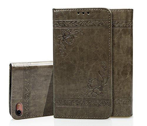 COZY HUT iPhone 7 Plus / 8 Plus Hülle, Premium Leder Serie mit Magnetverschluss/Kartenfächern/Standfunktion/Flip Case Schutzhülle Ledertasche Hülle für iPhone 7 Plus / 8 Plus - Grau geprägt