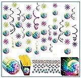 Libetui Disko Party Deko-Set Partykette Dekogirlande Konfetti Disco Diskoparty Mottoparty Deckenhänger (70er)