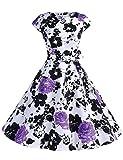 Dressystar Damen Vintage 50er Cap Sleeves Dot Einfarbig Rockabilly Swing Kleider Violett Blume M