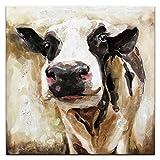 IPLST@ Handgemalte Retro-Effekt-Kuh-Ölgemälde Tier-Kunst-Segeltuch für moderne Hauptdekoration-60x60cm(kein Rahmen, ohne Bahre)