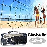 Filet de Volley Badminton Tennis Beach 9.5M*1M, Réglable en Hauteur, Filet Portable...