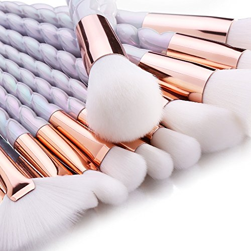 CDC� 10Pcs Unicorn Design Handle Shape Makeup Brushes Tools Set White Hair Synthetic Foundation Brush Eyeshadow Blusher with Diamond Bag