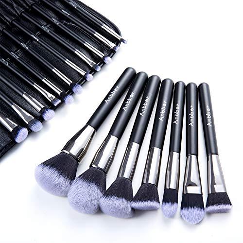 Pinceau de maquillage Set Anbber 18pcs brosses cosmétiques professionnels Elite avec soies en fibres synthétiques douces et sans cruauté pour un look impeccable - Pochette en cuir PU élégant inclus