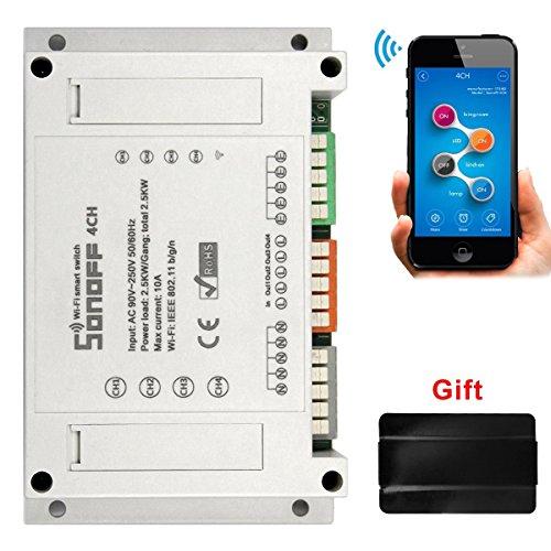 Sonoff 4CH 4-Kanal Fernbedienung Smart Switch Wifi Schalter Fernbedienbare Steuerung für DIY Smart Home(Kompatibel mit Amazon Alexa [Echo, Echo Dot]+Elastisches Fingergriff Mobiltelefon(Geschenk)
