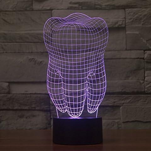 3d illusione lampada jawell notte denti 7Cambiare colore Touch USB tavolo regalo giocattoli decorazioni