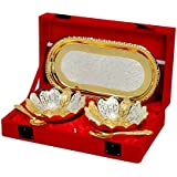 Shreeng Silver And Gold Plated Floral Shaped Brass Bowl And Tray Set Of 5 Pcs