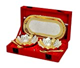 #5: Jaipur Ace Silver And Gold Plated Floral Shaped Brass Bowl And Tray Set (Absg00002)