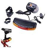 Luz trasera USB recargable Sannysis Luz de Bicicleta Impermeable linterna Sistema de señalización para bicicletas - 7 LED - 8 sonido Horn - Señal de giro de bicicleta