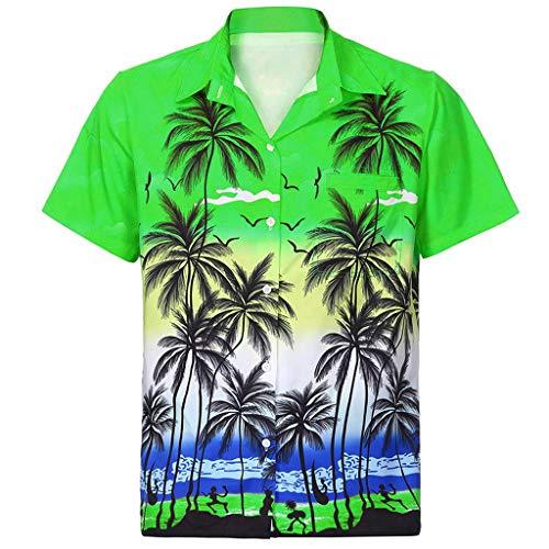 kolila Hawaiian Shirts Aloha Herren Damen Regular-fit Beach Camp Palm Tree Kurzarm Button Down Bluse Oberteile Oberteile mit Tasche
