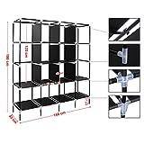 Songmics XXXL deluxe Höhe 180 cm Kleiderschrank Hochfüßen Faltschrank Stoffschrank Mit 2 Kleiderstangen 4 Taschen schwarz RYG44H -