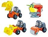 3in1 Spielzeug Bagger,Walze,Kran Baufahrzeuge Konstruktionsspielzeug Baukasten Set mit Kinderwerkzeug