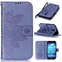 Galaxy S4 Case, KKEIKOŽ Galaxy S4 Wallet Case [with Free Tempered Glass Screen Protector], Premium PU Leather Flip Cover with Card Slots, Hand Strap and Kickstand, Wallet Book Style Holster Case for Samsung Galaxy S4 (Flower #2)