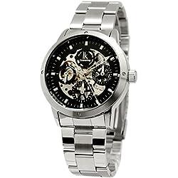Alienwork IK Automatic Watch Self-winding Skeleton Mechanical Metal black silver 98103G-01