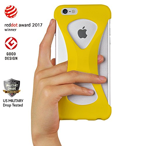 Custodia Case Palmo per iPhone 6s/6 plus (Nero) - One finger gripping iPhone case to prevent dropping Vincitrice del Premio Red Dot: Product Design 2017 e del GOOD DESIGN AWARD 2015 – Test di caduta d Giallo