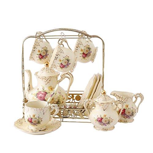 ufengke® 11 Piezas Creative England Europeo Mano De Lujo Pintado Rojo Y Oro Flor Marfil Porcelain Ceramic Coffee Set Juego De Té
