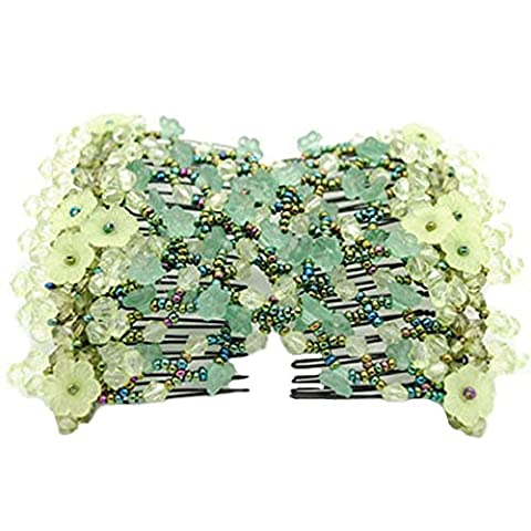 Contever® Magic Bow Flower Hair Stretchy Comb Double Clips Hairpins For Women/Ladies ( Green )