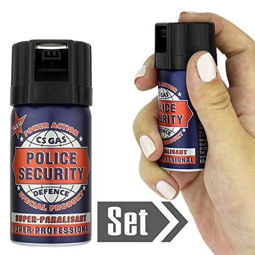 Mabax 2Stk. CS Gas - Abwehspray zur Verteidigung - Police Security - Sprühnebelstrahl 40ml im Set mit Gratis Personal Alarm Set -