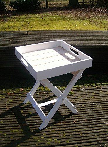 Praktischer Tablett-Tisch, Beistelltisch, Ablagetisch Holz weiss 36 cm -