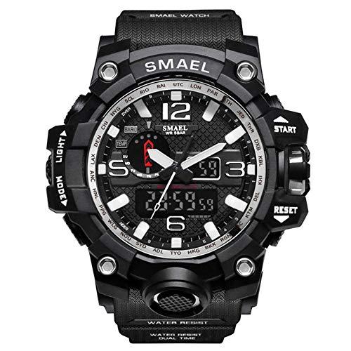 SMAELBand Männer Military Watch 50m wasserdichte Armbanduhr LED Quarzuhr Sportuhr Männliche Sportuhr Men S Shock,Silver