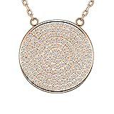 MetJakt 925 Sterling Silber Wunderschöne Micro-Inlay Zirkonia Große Runde Disc Anhänger Gypsophila Halskette Einstellbar Chian (Rotgold)