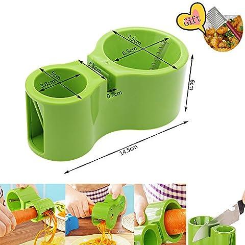 multifonctionnel double spirale Cutter avec taille-crayon, 2en 1manuel Microplane Râpe Corbeille trancheuse pour les légumes et nouilles par Greenk