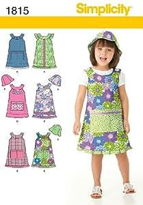 Simplicity 1815 Patron de robe et chapeau pour enfant Taille 31-32-33-34-35-36