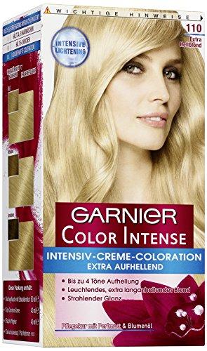 Garnier Haarfarbe (Garnier Color Intense, 110 Extra Hellblond / Dauerhafte Intensive Creme Coloration für permanente Haarfarbe (mit Perlmutt und Traubenkernöl) 3 x 1 Stück)
