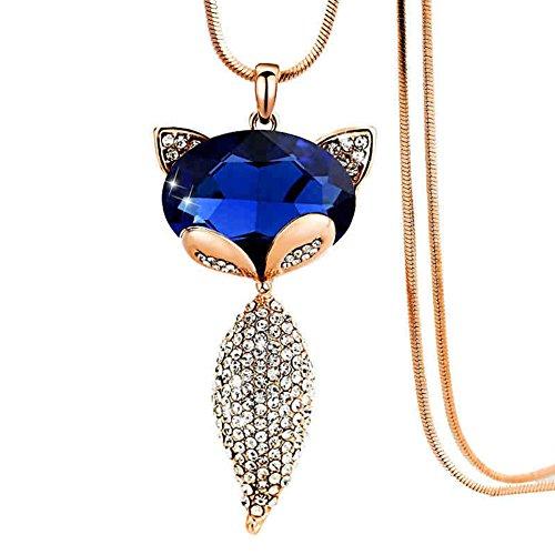 Little Finger Shining Fox Anhänger Pullover Lange Kette Halskette Party Schmuck Zubehör für Frauen Mädchen, Golden + Blue, 2.95