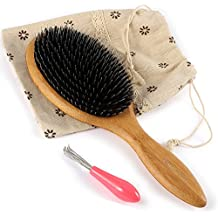 BESTOOL Jabalí de cerdas de madera de bambú masaje peine,nudo no electrostática comodo y durable gran Paddle hairbrush con bolsa de gas (Negro) (ronda)