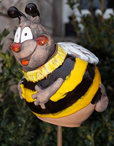 Keramik Gartenkugel Biene fliegend 17 cm Gartenstecker Handarbeit