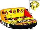 MESLE Tube Package Formula 3, mit 3P Schleppleine, Set, Towable-Couch, Fun-Tube, gelb-orange, Multirider für DREI Personen, aufblasbar, ziehbar, 195cm x 185cm, Familie, Kinder, Aufstiegshilfe, Boot