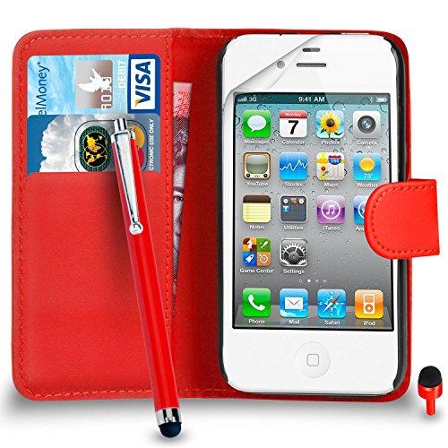 Apple iPhone 4 / 4S PACK 7 Haute Qualité capacitif Big tactile Stylet SVL2 PAR SHUKAN®, (BIG STYLUS PACK 7) Portefeuille ROUGE