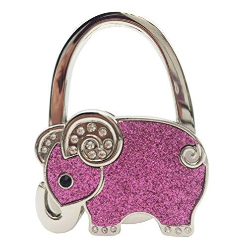 OUNONA Gancho Plegable de Bolso Elefante Monederos Colgador Soporte para Mesa (Rosa)