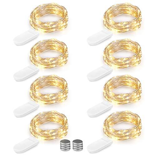 (LED Lichterkette Batterie 8er 2M 20 LED Innen Micro Silber Batteriebetriebene Lichterkette für Weihnachten, Hochzeit, Party, Schlafzimmer, Tisch Dekoration, Warmweiß (Kommen mit 8 Stück Batterien))