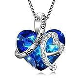 Kette Herz Sterling Silber'Ich liebe dich für immer' Halskette Damen Anhänger mit Kristall Kristallherz von SWAROVSKI (Ich Liebe Dich)