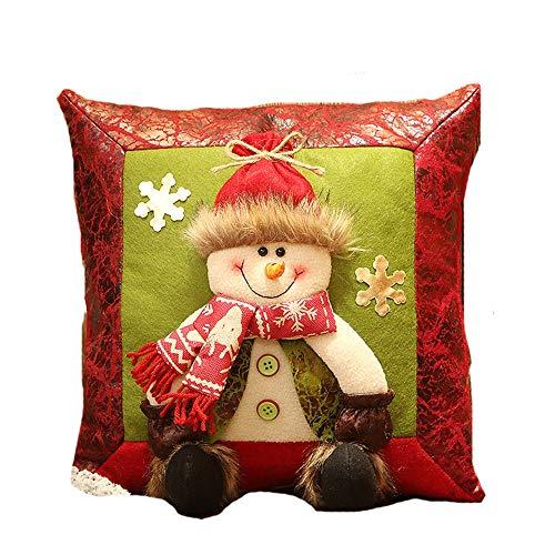 Schneemann-kissen (ZHRUI Weihnachtsmuster 3D Kissen Schneemann Weihnachtsmann Ren Kissen (Farbe : Grün, Größe : Einheitsgröße))