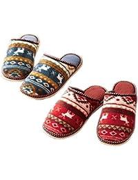 comolife nórdico cálido zapatillas 2 pares Set, rojo & azul marino, nosotros tamaño: